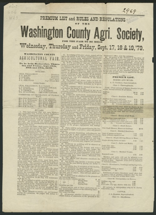 Premium list and rules and regulations of the Washington County Agricultural Society - Page