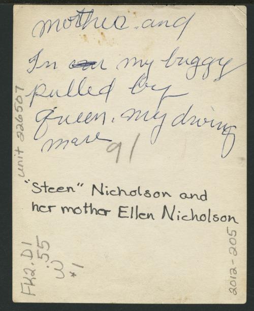 Christena Nicholson and Ellen Nicholson in a horse drawn carriage - Page