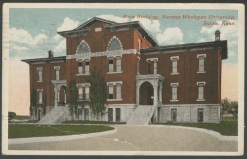 Postcard of Main Building, Kansas Wesleyan University, Salina, Kansas