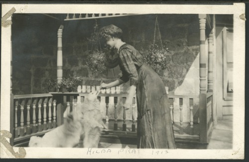 Hilda Pratt with her dog at the Pratt Ranch [Cottonwood Ranch]  in Sheridan County, KS - Page