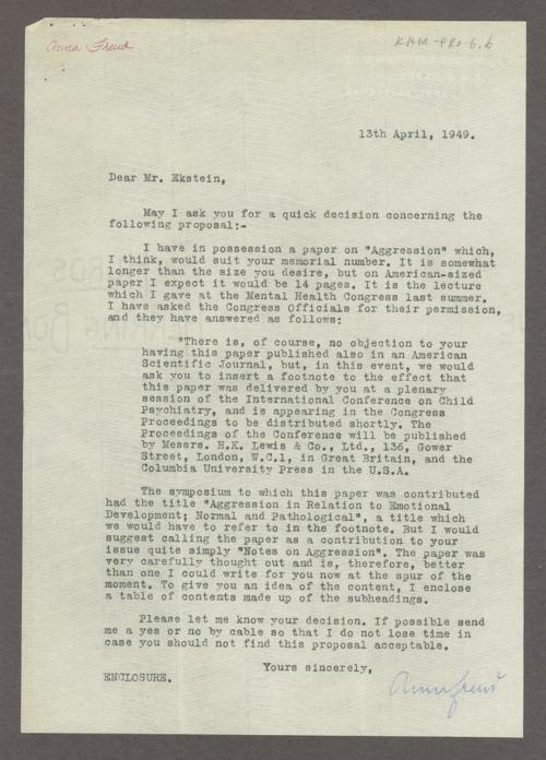 Anna Freud correspondence - Page