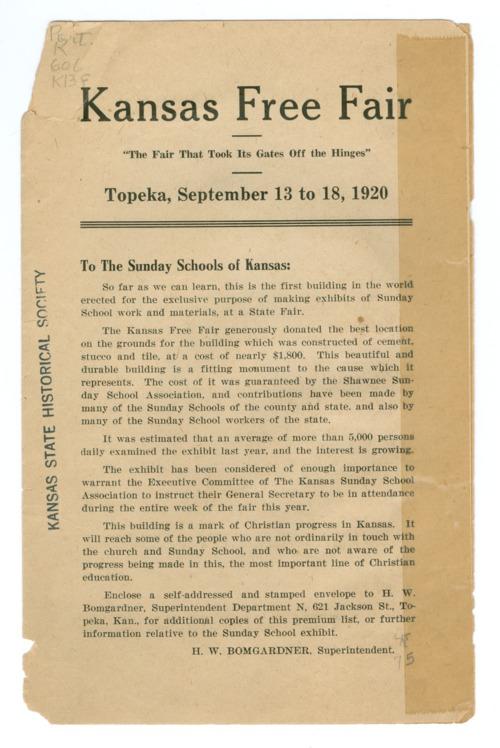 """Kansas Free Fair """"To The Sunday Schools of Kansas"""" - Page"""