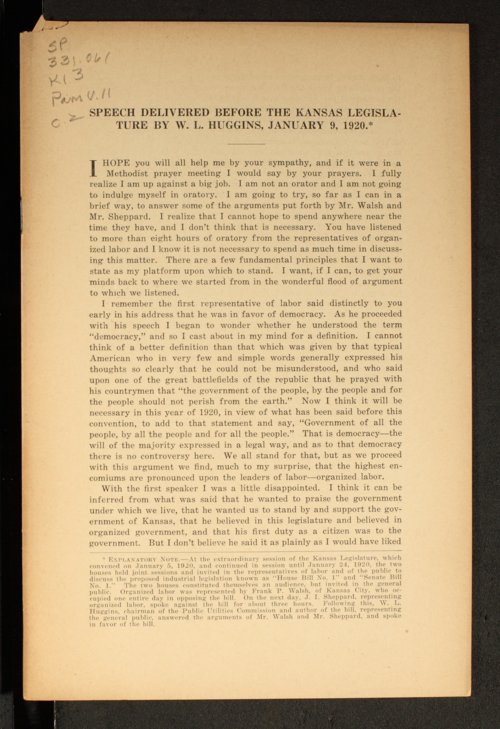 Speech delivered before the Kansas Legislature by W. L. Huggins - Page