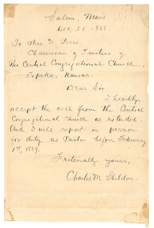 Charles M. Sheldon to Theodore W. Peers - Page