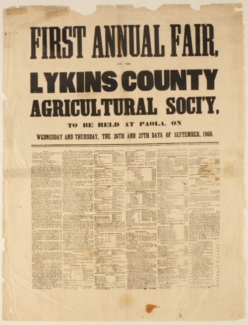 First Annual Fair of the Lykins County Agricultural Society - Page