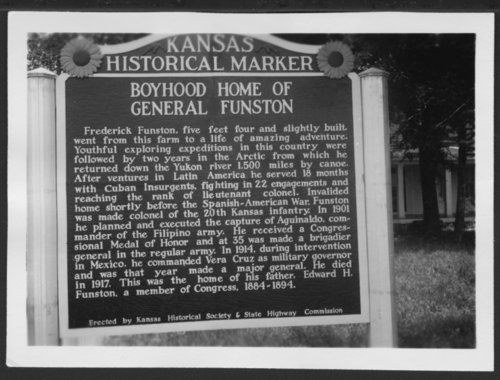 Historical marker for Frederick Funston's boyhood home, Allen County, Kansas - Page