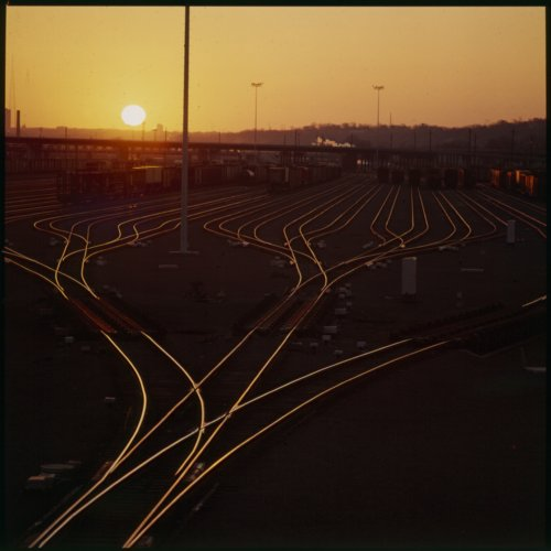 Sunrise over rail yard in Argentine, Kansas - Page