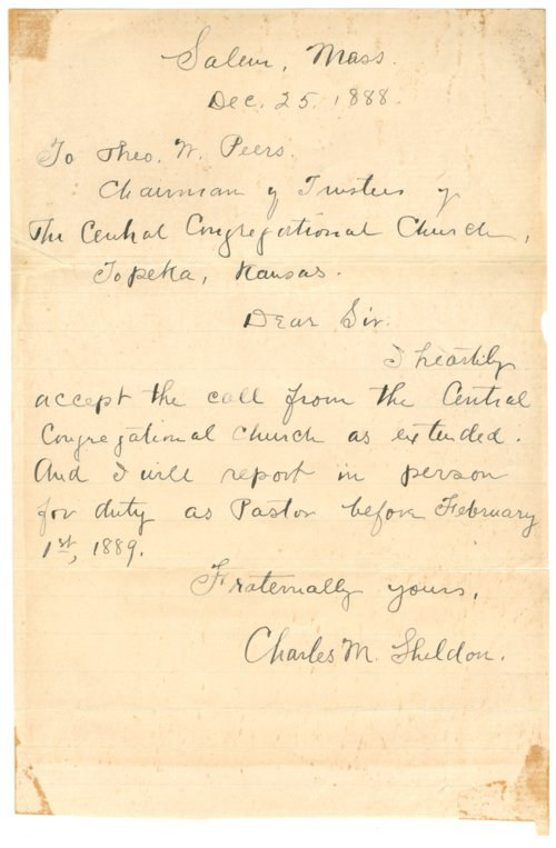 Charles M. Sheldon and Central Congregational Church correspondence - Page