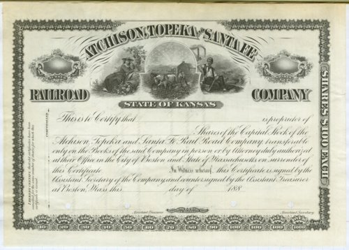 Atchison, Topeka & Santa Fe Railroad Company stock certificate - Page