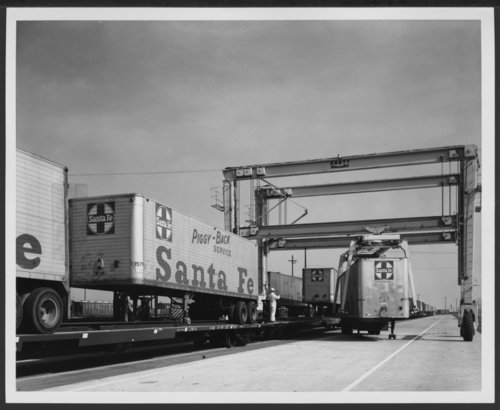 Atchison, Topeka & Santa Fe Railway Company truck trailer, Hobart Yards, Los Angeles, California - Page