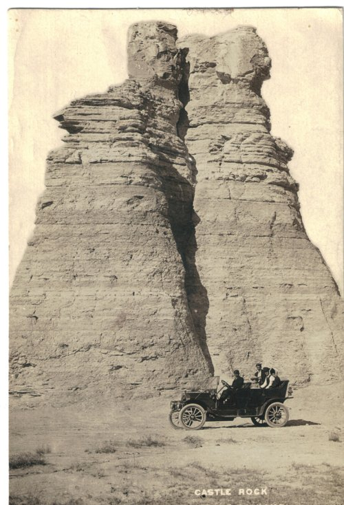 Edwin Boyer and family members at Castle Rock in Gove County, Kansas - Page
