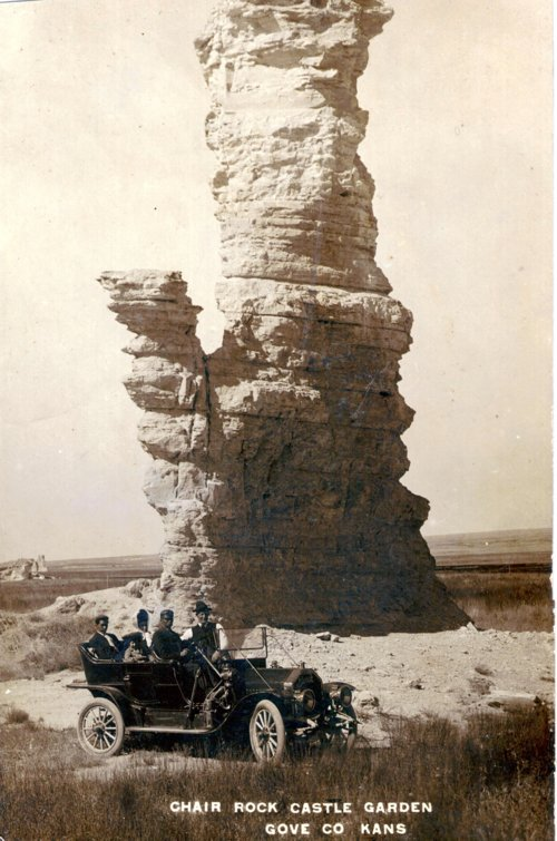 Edwin Boyer and family at Chair Rock Castle Garden in Gove County, Kansas - Page