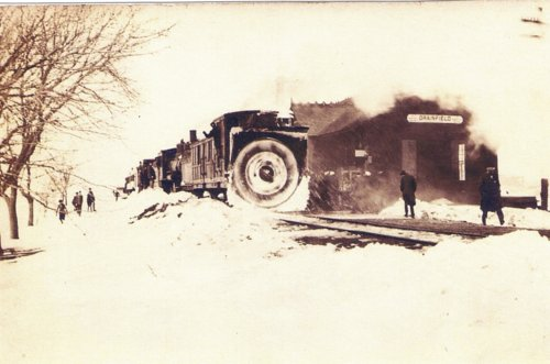 Clearing snow from the railroad tracks at Grainfield, Kansas - Page