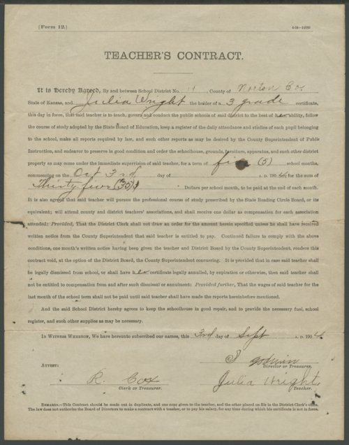 Julia Wright's teaching contract - Page