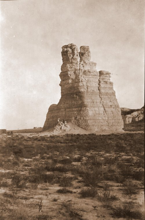 Edwin Boyer and family members at a rock formation in Gove County, Kansas - Page