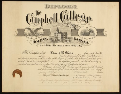 Edward Ray Sloan's diploma from Campbell College - Page