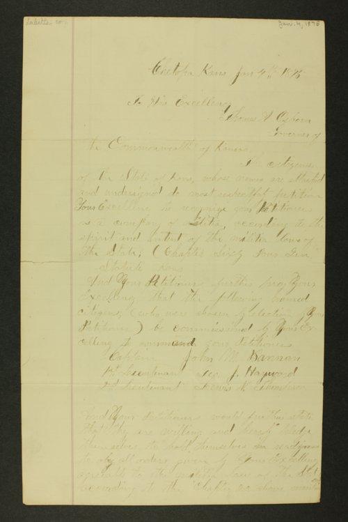 Kansas Adjutant General general correspondence, 1875 - Page