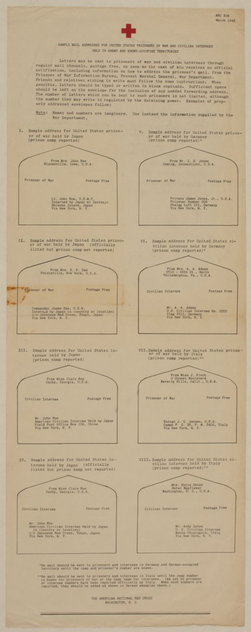 Sample Addresses for United States Prisoners of War and Civilian Internees Held in Enemy and Enemy-Occupied Territories - Page