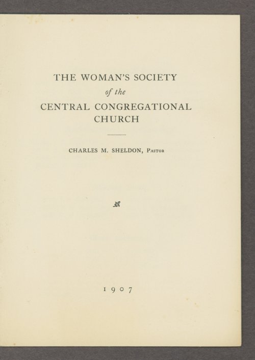 The Woman's Society of Central Congregational Church - Page