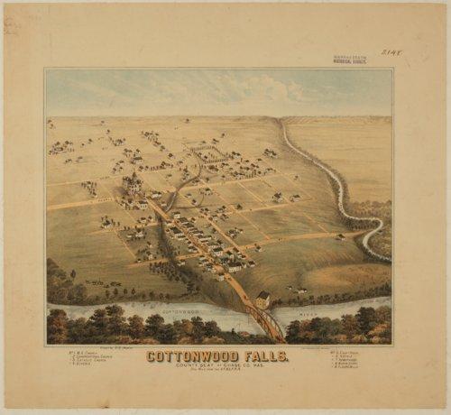 Bird's Eye View of Cottonwood Falls, Chase County, Kansas - Page