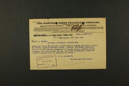 Kansas Adjutant General U.S. War Department correspondence - Page