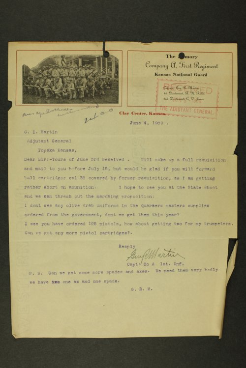 Kansas Adjutant General correspondence by companies, 1905-1910 - Page