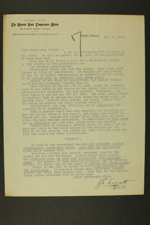 Temperance history correspondence - Page
