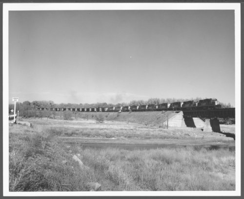 Atchison, Topeka & Santa Fe Railway Company coal train crossing the Cimarron River bridge in New Mexico - Page