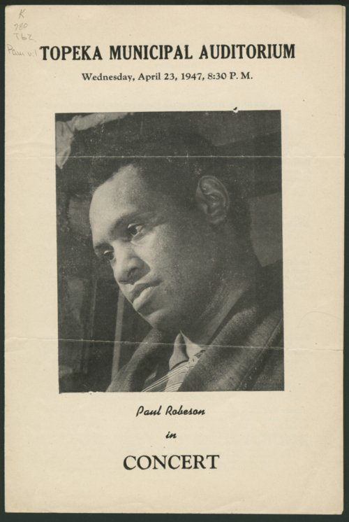Paul Robeson in concert, Topeka Municipal Auditorium