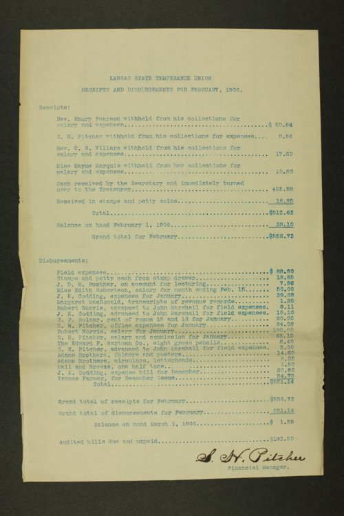 Kansas State Temperance Union receipts and disbursements - Page