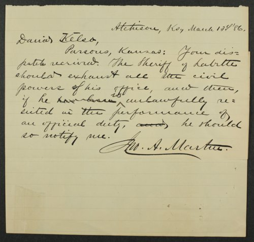 Correspondence to David Kelso from Governor John Martin - Page