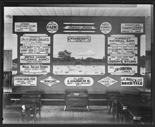 Billboard showing businesses, Humboldt, Allen County, Kansas - Page