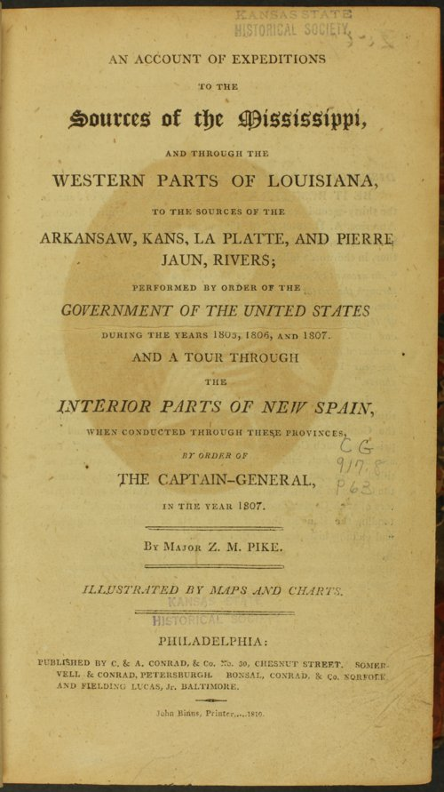 Front page of account of Major Zebulon M. Pike's exploration - Page
