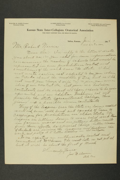Temperance history correspondence