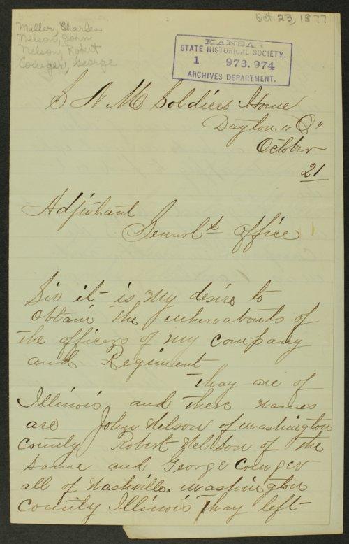 Charles Miller to Kansas Adjutant General - Page