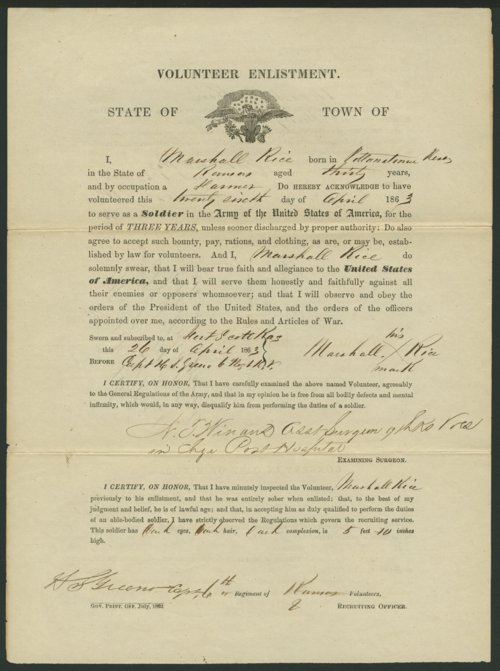 Marshall Rice's Civil War enlistment paper - Page