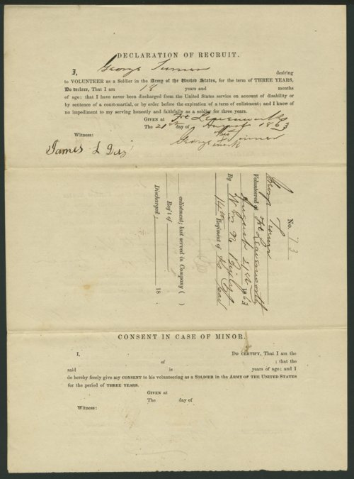 George Turner's Civil War enlistment paper - Page