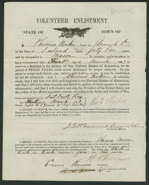 Thomas Baker's Civil War enlistment paper - Page