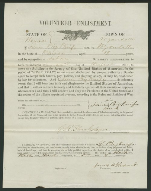 Louis Big Knife's Civil War enlistment paper - Page