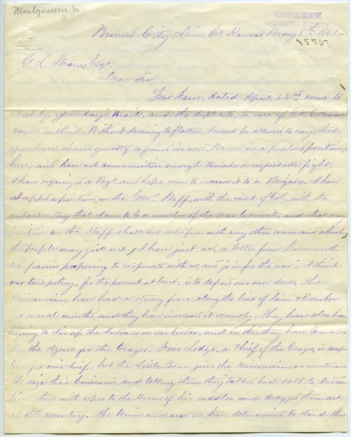 George L. Stearns and James Montgomery correspondence - Page