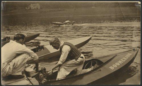 Working on a racing boat, Lake Quivira, Kansas - Page