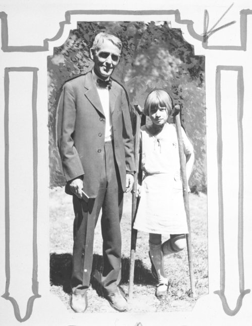 Arthur Capper and young girl with crutches - Page