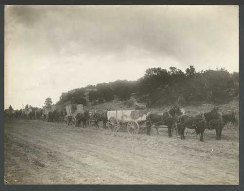 Dray wagons hauling large stones, possibly in Seward County, Kansas - Page