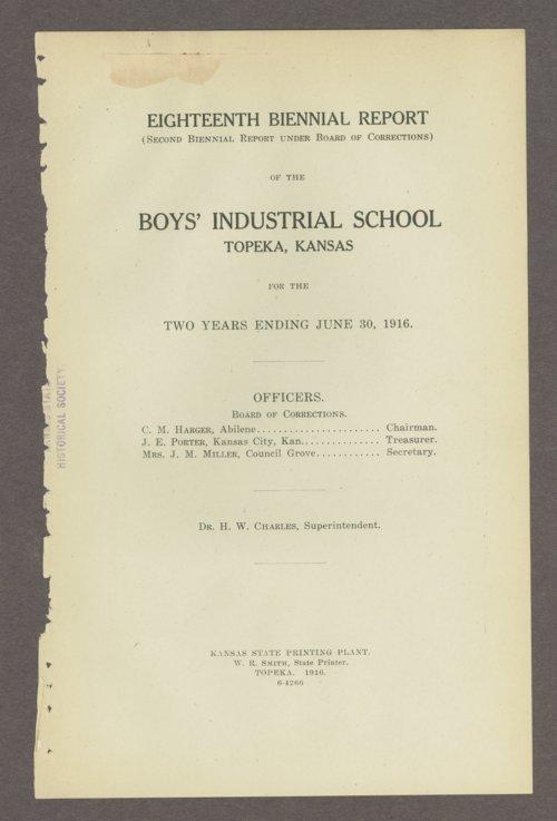 Biennial report of the Boys Industrial School, 1916 - Page