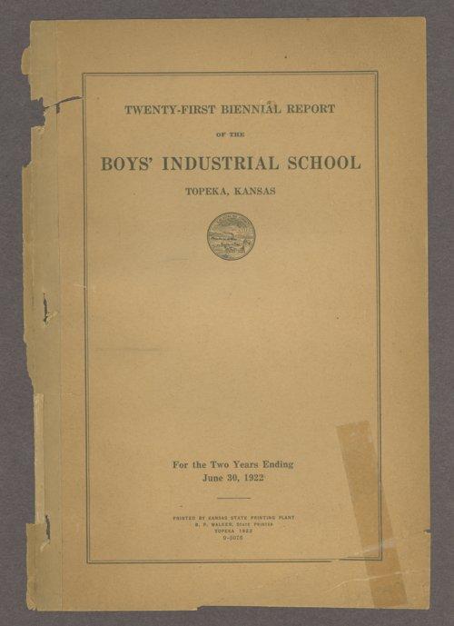 Biennial report of the Boys Industrial School, 1922 - Page