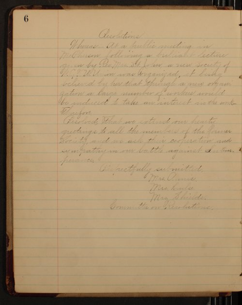 Minutes of the McPherson Chapter of the Woman's Christian Temperance Union - Page