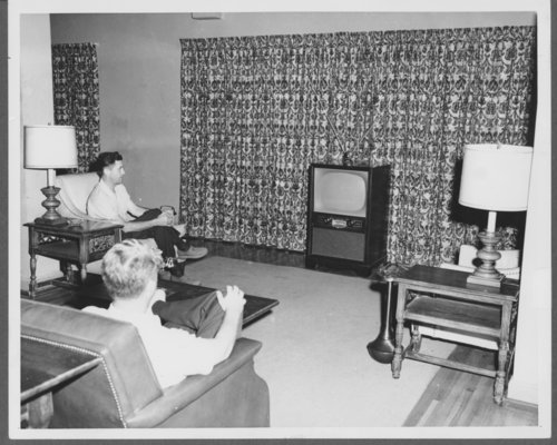 Men watching television in the club house at Lake Quivira, Kansas - Page