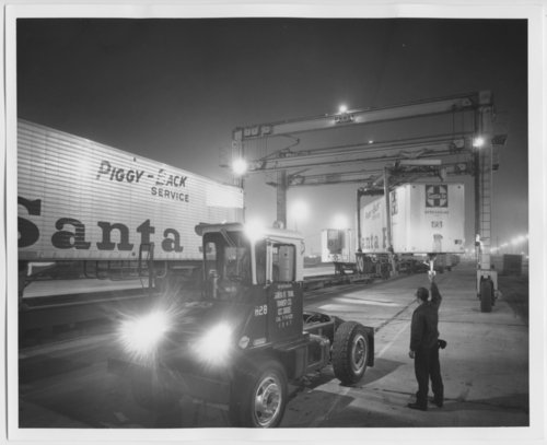 Atchison, Topeka & Santa Fe Railway Company truck trailers, Hobart Yards, Los Angeles, California - Page