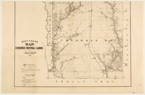 Missouri River, Fort Scott and Gulf Railroad map of the Cherokee neutral lands, Kansas - Page