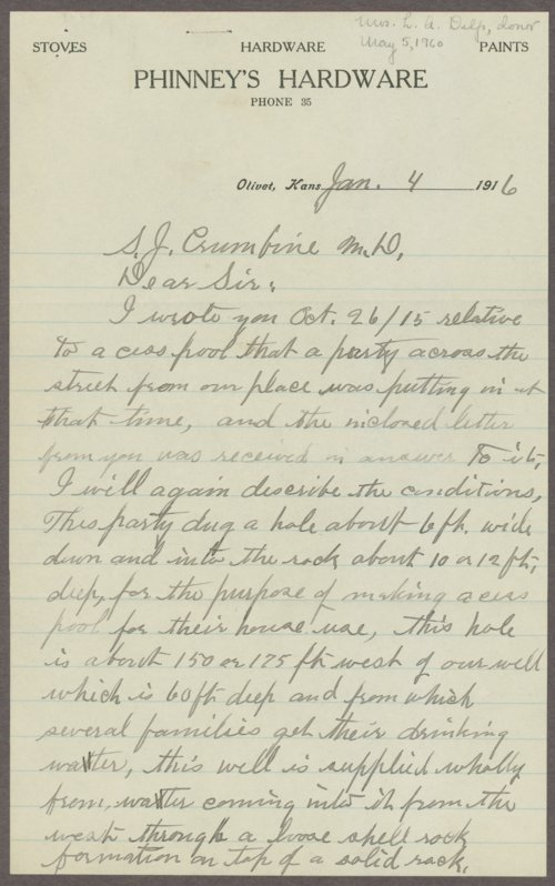William H. Phinney to Samuel J. Crumbine - Page